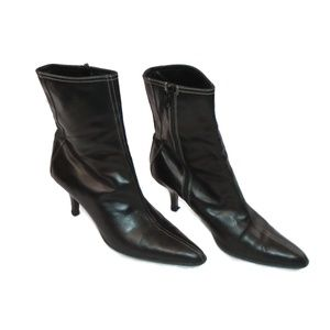 Coach Jeanne Leather Pointy Toe Heeled Boots 8.5